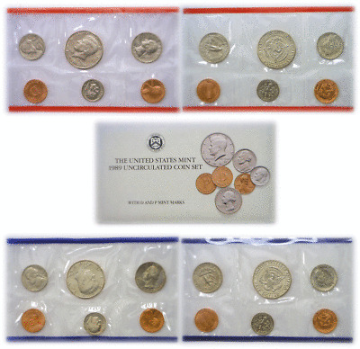 1989 10 Coin P/&D United States Mint Uncirculated Set OGP W//COA