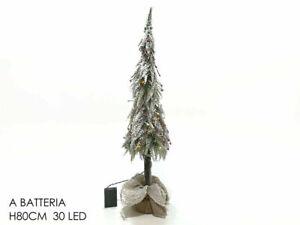 Albero Di Natale 80 Cm.Albero Di Natale Innevato 80 Cm Con 30 Luci Led Bacche Rosse Artificiale Mshop Ebay