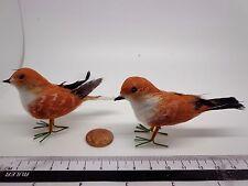 Hand made Birds x 2 Dolls House Miniature Garden Bird M ( Brown )
