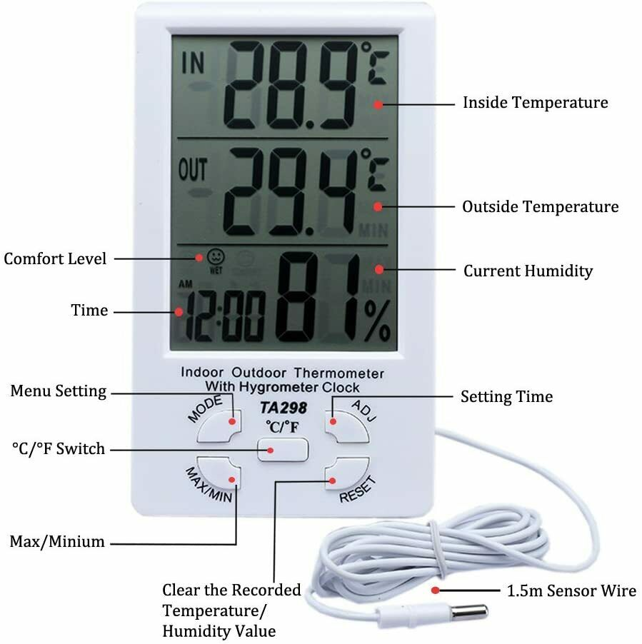 Outside/Inside Digital LCD Thermometer + Hygrometer with Min/Max Value and Clock