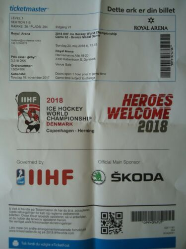 Online TICKET Eishockey WM 20.5.2018 Kanada Memorabilia Sport USA Spiel 63