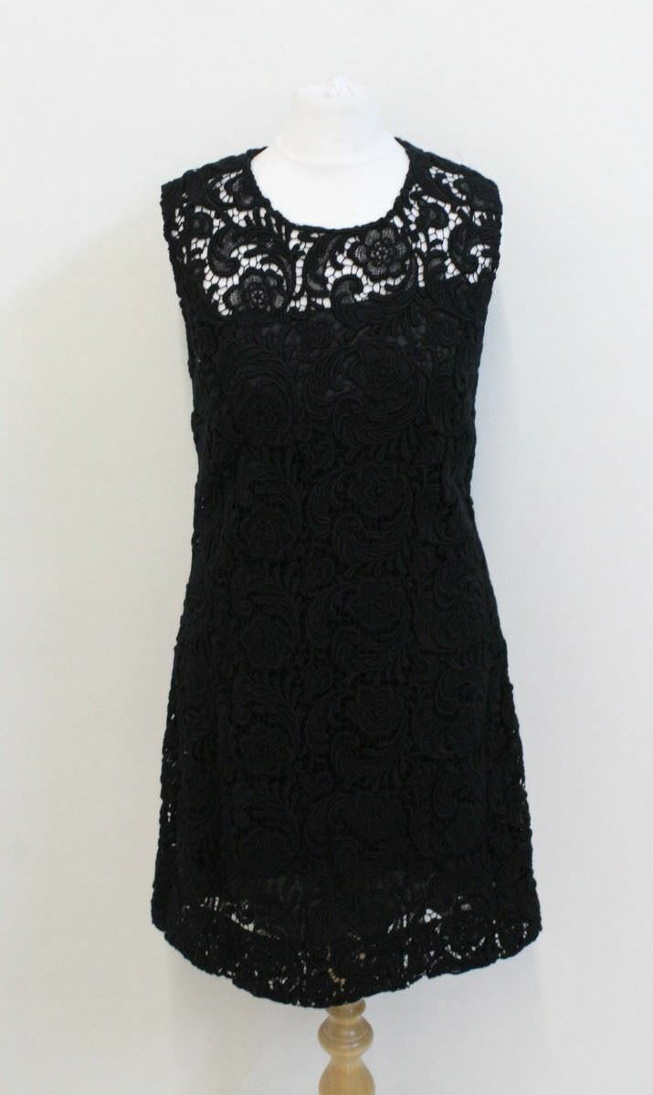 PRADA señoras Crochet Negro Vestido Ceñido  de Encaje sin Mangas Cuello rojoondo12 IT44  varios tamaños