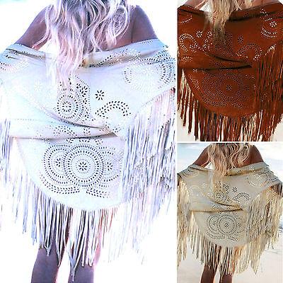 Vintage Womens Bohemia Fringe Poncho Cape Kimono Ladies Beach Towel Cardigan Top