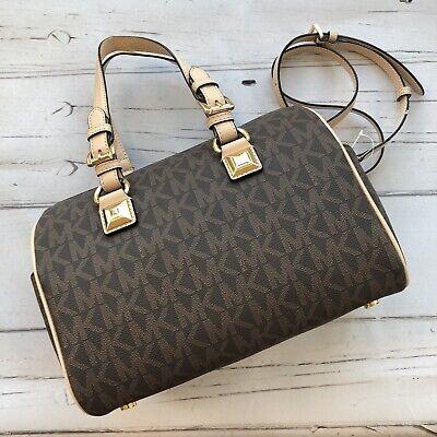 Michael Kors Grayson Bag Satchel Brown Tan Bag MK Logo Handbag NWT $328 new   eBay