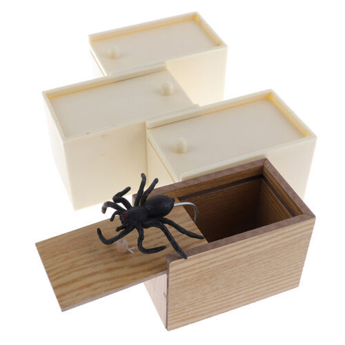 Wooden Prank Trick Practical Joke Home Office Scare Toy Box Gag Spider Mouse CWI
