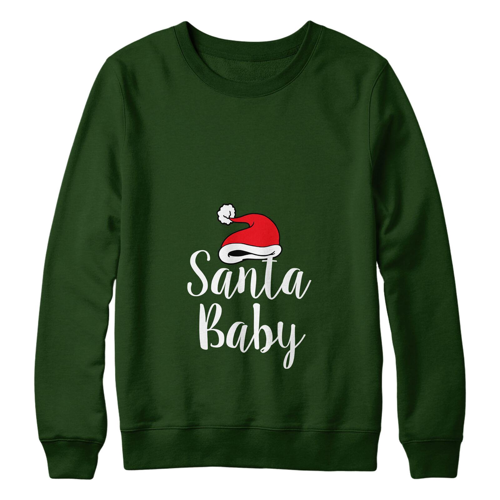 Santa Baby Maternity Sweater Jumper Christmas Women Xmas Funny Pregnant 162