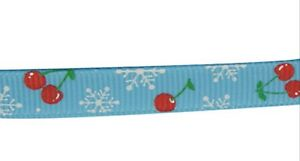 Cherry & Snowflake Grosgrain Christmas Ribbon , SkyBlue , app. 10mm x 5yrds