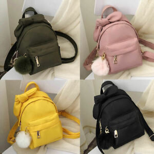 Bow-Knot-Pom-Ball-Convertible-Small-Mini-Backpack-Rucksack-Shoulder-bag-Purse