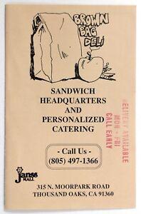 Details About 1980 S Vintage Menu Brown Bag Deli Delicatessen Thousand Oaks Ca
