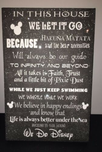 DISNEY QUOTE DIAMOND DUST GLITTER CANVAS 12x18 INCHES