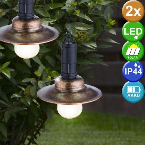 2er Set DEL Solaire Extérieur Plafond Suspendu Lampes Métal pendule Luminaires éclairage