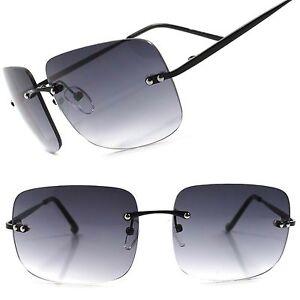 b939d414bee Details about Gradient Tint Lens Vintage Retro Fashion Mens Womens Rimless Square  Sunglasses