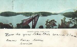 EARLY-1900-039-S-VINTAGE-GEORGE-039-S-RIVER-COMO-POSTCARD-sent-to-Birchs-Bay-TAS