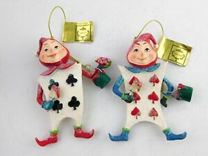 Mark-Roberts-Alice-in-Wonderland-Ornament-Set-of-2-Card-Soldiers-NWT-Christmas