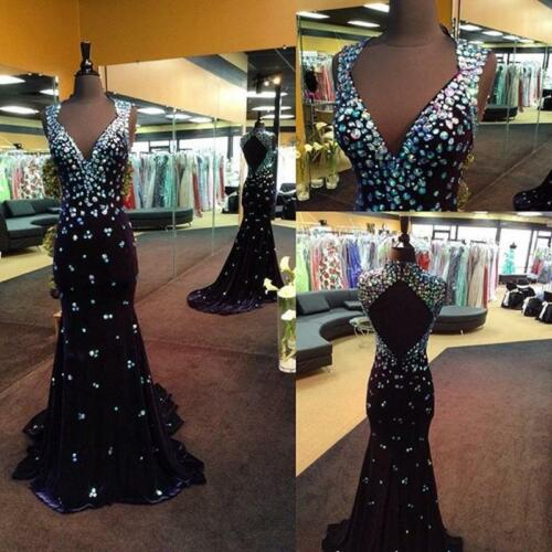 Black Mermaid  Beads Evening Pageant Gown Prom Party Dress Custom all Size