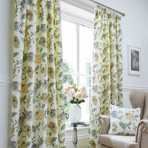 FELICITY FLORAL READY MADE 100/% COTTON CURTAINS LINED MATCHING BEDSPREADS