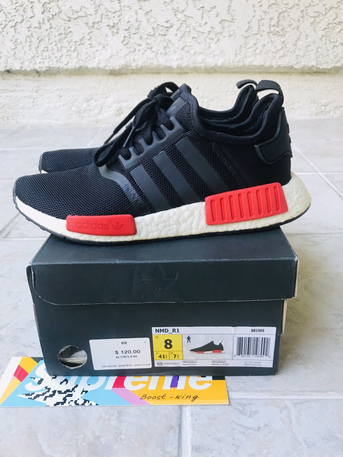 Adidas NMD R1 Bred Black Red Men's size 8