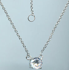 925 STERLING SILVER 1 CARAT 6.5MM PRONG SET CZ SOLITAIRE NECKLACE