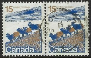 Scott-595vi-15c-Mountain-Sheep-pair-on-HB-front-only-paper-Cat-30-VF