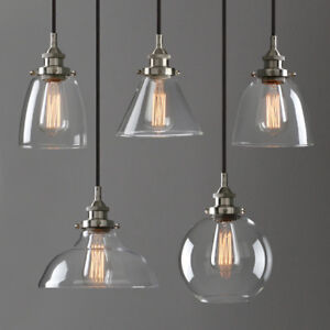 Image is loading Modern-Industrial-Brushed-Steel-Pendant-Light-Glass-Shade- & Modern Industrial Brushed Steel Pendant Light Glass Shade Filament ...