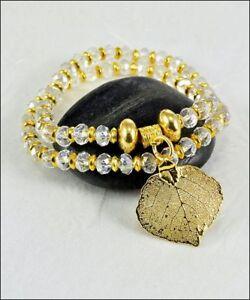 Real Leaf Metal Filigree Double Wrap Bracelet Gold Aspen Leaf on Crystal Beads
