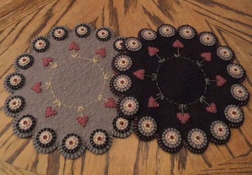 Embroidery Kit Penny Rug Kit HEARTSTRINGS I Prim Wool Felt Candle Mat Kit