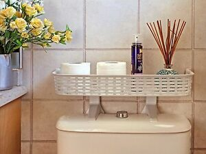 over the tank bathroom space saver cabinet one shelf the toilet tank white rattan plastic 26254