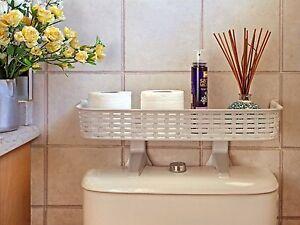 shelf over the toilet tank white rattan plastic bathroom space saver