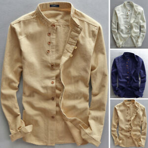 Men-039-s-Linen-Long-Sleeve-Solid-Shirts-Casual-Loose-Fit-Formal-Dress-Top-Tee-Shirt