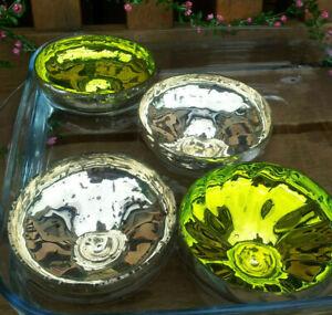 2-4-Glanz-Schwimmschalen-9-5-cm-Dekoration-Zart-Glas-Schwimmkerzenhalter-Deko
