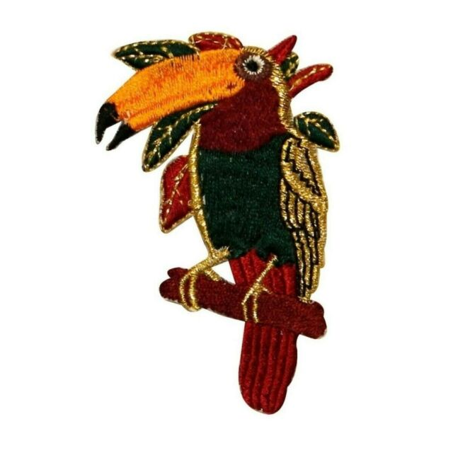 ID 0594 Perching Toucan Patch Tropical Animal Bird Embroidered Iron On Applique