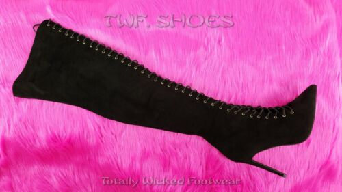 """So Me Amara Lace Up 4/"""" Stiletto High Heel Thigh Boots Black Lace Up"""