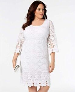Details about Alfani Womens Dress 0x White Crochet Lace Lined Shift 3/4  Sleeves Plus Size New
