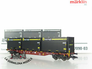CS52-AC-MARKLIN-47090-03-Container-Tragwagen-Sgns-RO-WoodTainer-XXL-Containern