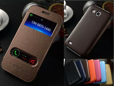 6Colors Protective Flip Luxury PU Leather View Case Cover For Samsung Galaxy