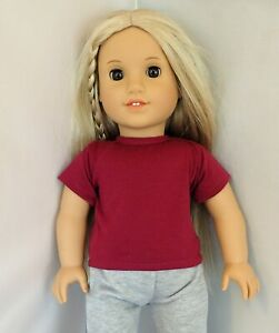 Long Sleeve Christmas Graphic T-Shirt fits American Girl Dolls #5 Black /& Red