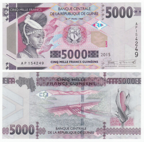 GUINEA 5,000 5000 Francs 2015 P-49 UNC Uncirculated