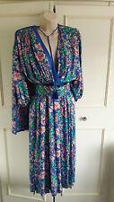 STUNNING **DIANE FRES**  SILK blue floral dress ~ size 14 ~ long scarf detail