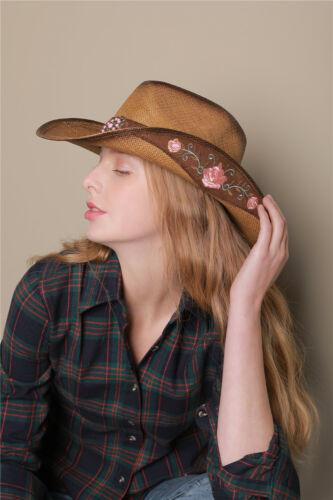 Unisex Retro Embroidery Western Cowgirl Straw Cap Summer Beach Cowboy Sun Hat
