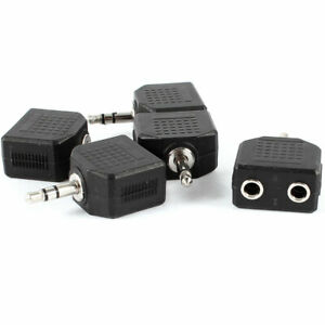 5Pcs-3-5mm-Male-to-Dual-Female-Connector-Audio-Splitter-Adapter