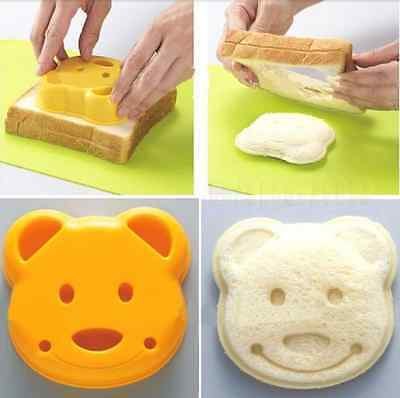 Japan DIY cute Bear Sandwich Bread Dessert Rice Toast Stamp Mold Cutter Tool Kit