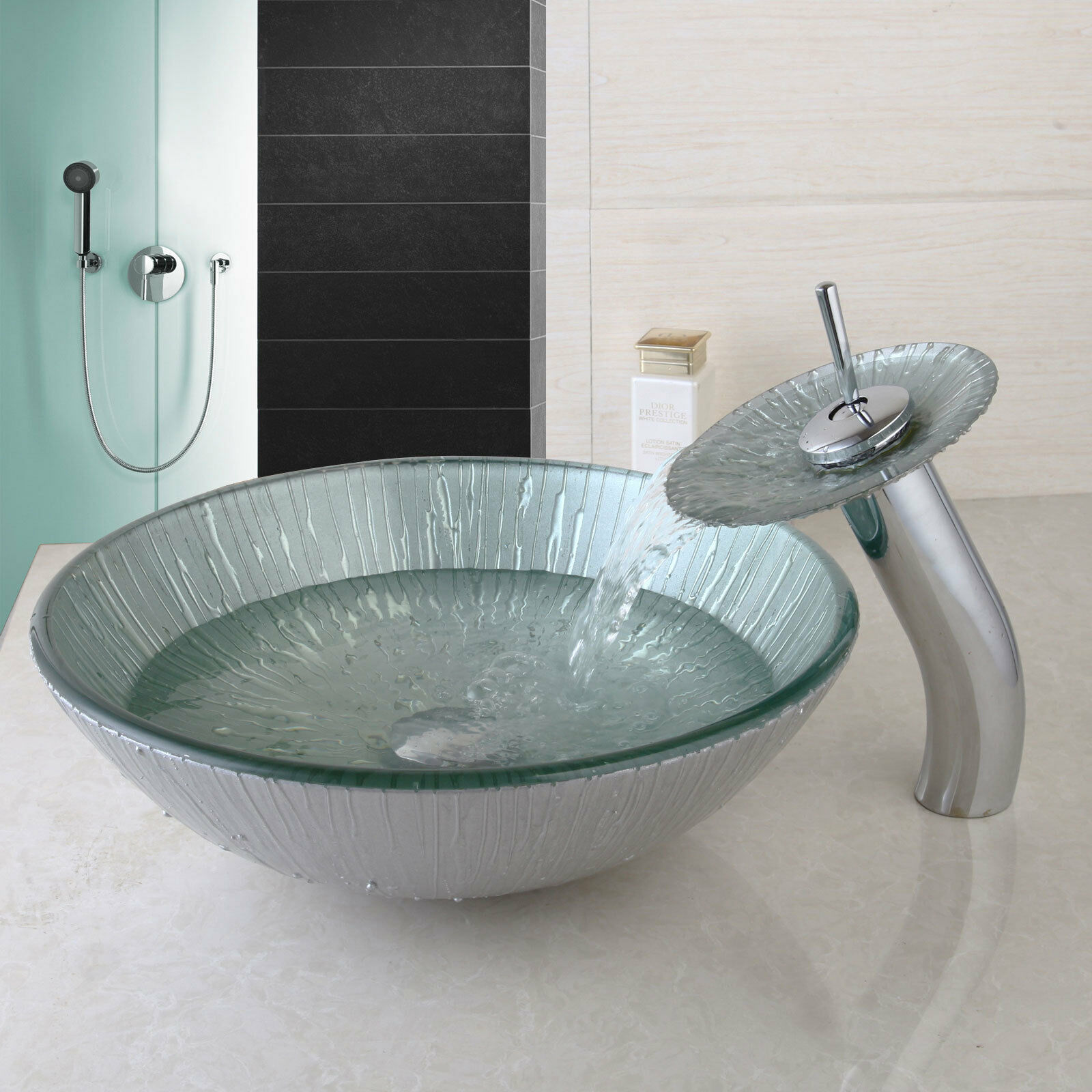 Type Bathroom Temperouge Glass Faucet Sink Basin TAP Washing Bowl Mixeur Waterfall