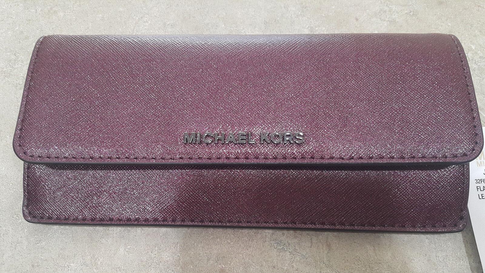 ab841d695249 Michael Kors Jet Set Travel Plum Leather Flat Envelope Wallet ...