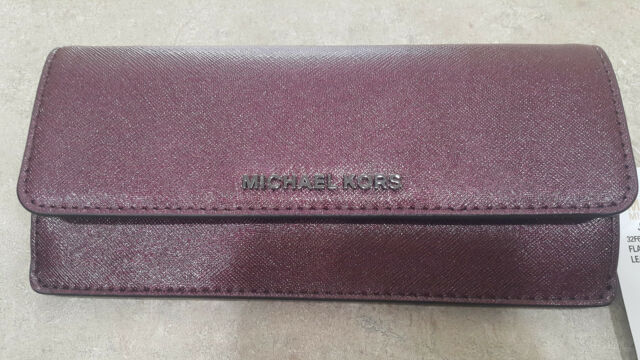 18e30942654d18 Michael Kors Jet Set Travel Plum Leather Flat Envelope Wallet ...