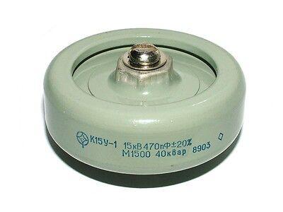 Lot of 10 pcs K15Y-1 15kV 470pF 40kVar ceramic HV doorknob capacitors NEW NOS