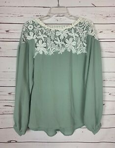 Umgee-Boutique-Women-039-s-Size-S-Small-Sage-Ivory-Lace-Cute-Fall-Top-Blouse-Shirt