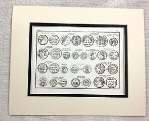 1821-Antique-Engraving-Ancient-Greek-Coins-Old-Money-Arabic-Currency-Numismatics