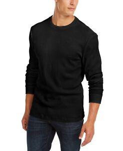 Club-Room-Mens-T-Shirt-Black-Size-XL-Thermal-Crewneck-Layered-Tee-35-417