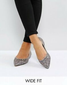 ASOS LATCH Glitter Wide Fit Pointed Toe