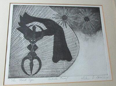 "Framed Vintage Artist Proof  ""The Third Eye"" By Helen D. Goldberg"